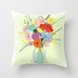 Bringing Summer Wildflowers Inside Throw Pillow