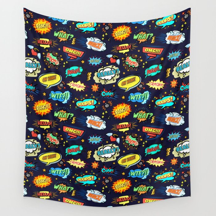 Retro Vintage Comic Book Speech Bubbles Design Wall Tapestry