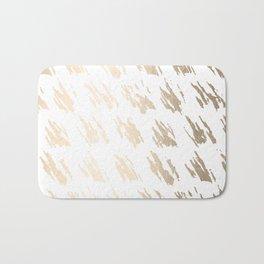 Luxe Gold Brush Polka Splotch on White Bath Mat