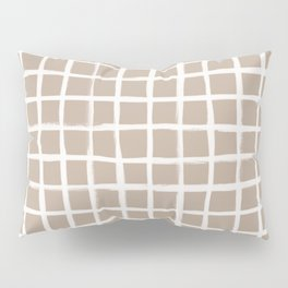 Strokes Grid - Off White on Nude Pillow Sham