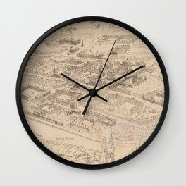 Vintage Pictorial Map of Oxford England (1850) Wall Clock