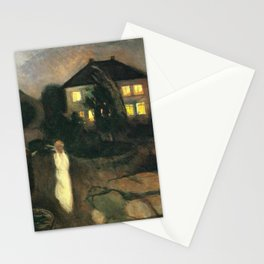 The Nor'easter - The Coastal Autumn Storm landscape painting by Edvard Munch Stationery Cards