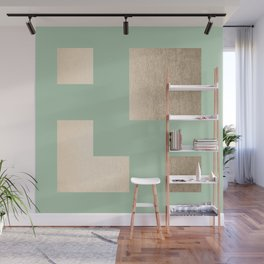 Simply Geometric White Gold Sands on Pastel Cactus Green Wall Mural