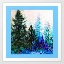 BLUE MOUNTAIN PINES LANDSCAPE Art Print