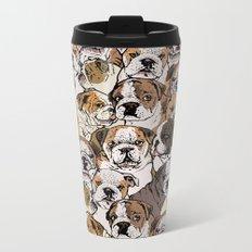 Social English Bulldog Metal Travel Mug