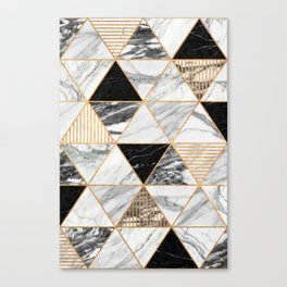Marble Triangles 2 - Black and White Canvas Print