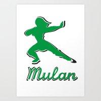 mulan Art Prints featuring Mulan by husavendaczek