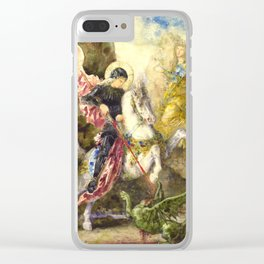 """Gustave Moreau """"St. George and the Dragon (1869)"""" Clear iPhone Case"""