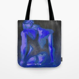 Beautiful Young Woman Wearing Plaits and Panties (Blue) Tote Bag