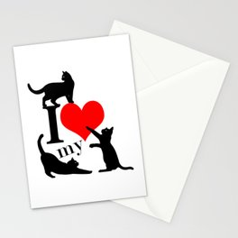I Love My Cats - black red Stationery Cards