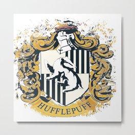 Hufflepuff Splatter Crest Metal Print