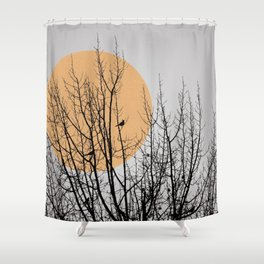 Birds and tree silhouette Shower Curtain