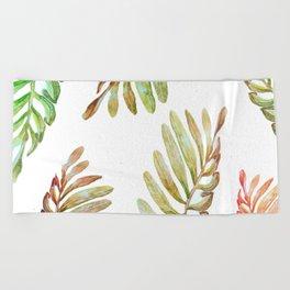 natural leaves Beach Towel