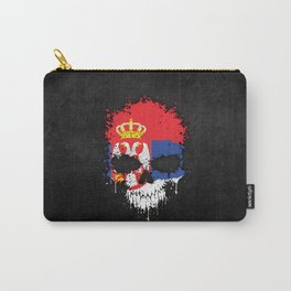 Flag of Serbia on a Chaotic Splatter Skull Carry-All Pouch