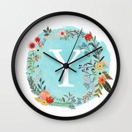 Personalized Monogram Initial Letter Y Blue Watercolor Flower Wreath Artwork Wall Clock