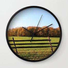 Knox Park Fall Trees and Falling Fence Wall Clock