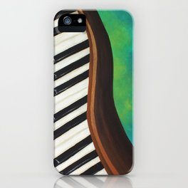 Dancing Piano on Teal iPhone Case