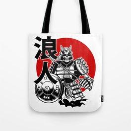 Skeleton Samurai Warrior with Ronin Japanese Lettering Tote Bag