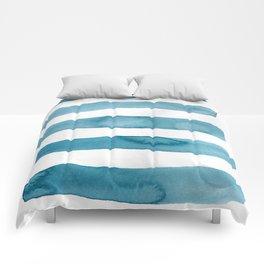 Aqua Stripes Abstract Modern Art Comforters
