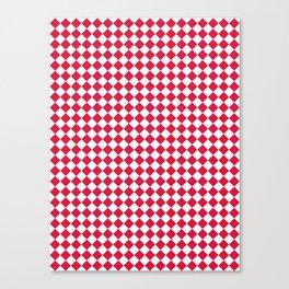 White and Crimson Red Diamonds Canvas Print