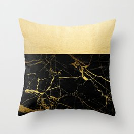 Gold and Black Marble Throw Pillow