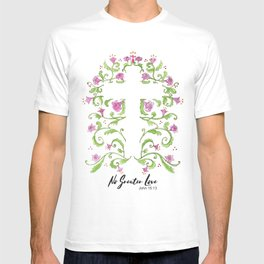 No Greater Love Floral Cross T-shirt