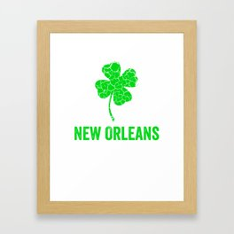 New Orleans Irish, St Patricks Day, Four Leaf Clover Framed Art Print