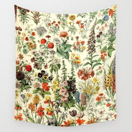 Adolphe Millot- Vintage Flowers Illustration Wall Tapestry
