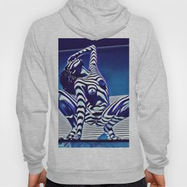 9124s-KMA Powerful Nude Woman Open and Free Striped in Blue Hoody