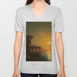 Constantinople Sunset by Ivan Aivazovsky Unisex V-Neck
