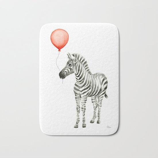 Baby Zebra Whimsical Animal with Red Balloon Nursery Art Bath Mat