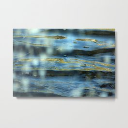 Water Surface Texture 2 blue and gold Metal Print