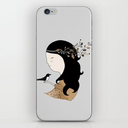 Girl with magpie iPhone Skin