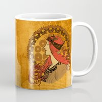 nouveau Mugs featuring Steampunk Nouveau by Nana Leonti
