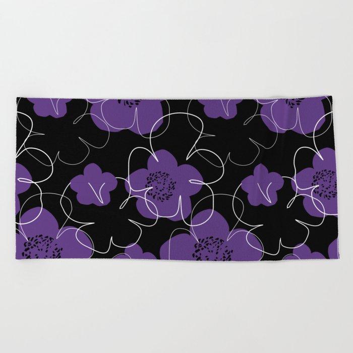 Purple Blooms Beach Towel