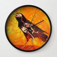 transparent Wall Clocks featuring Transparent Raven by Lennon Michalski