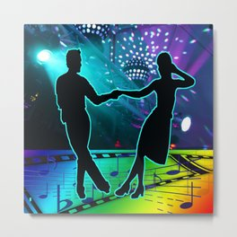 Swing Dancers With Stage Lights And Music Symbols Metal Print