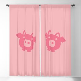 Pink Flying Pig Blackout Curtain