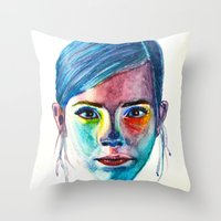 emma watson Throw Pillows featuring Emma Watson by Stella Joy