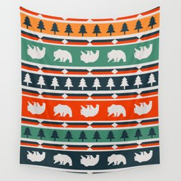 Winter bears and trees Wall Tapestry