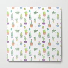 Cacti and Succulent Pattern Metal Print