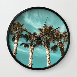Tropical Palm Tree Photography {1 of 2} | Teal Blue Sky Wind Blown Clouds Wall Clock