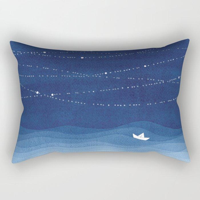 Follow the garland of stars, ocean, sailboat Rectangular Pillow