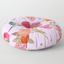 Beautiful roses and tropical birds pink Floor Pillow