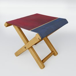 Deep Blue, Red And Gold Abstract Painting Folding Stool