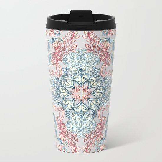Vintage Fancy - a Pattern in Pale Blue, Navy & Deep Rose Metal Travel Mug