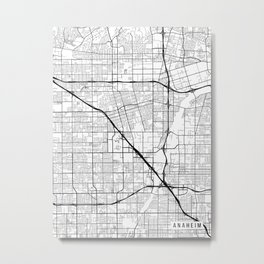 Anaheim Map, California USA - Black & White Portrait Metal Print