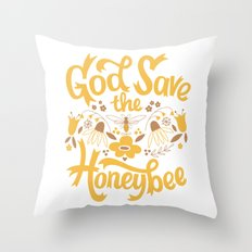 God Save the Honeybee Throw Pillow
