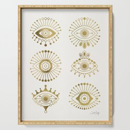 Evil Eyes – Gold Palette Serving Tray