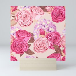 Pink Floral Painting Mini Art Print